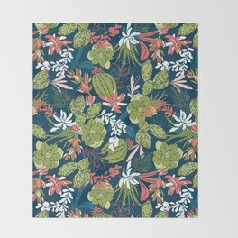 Succulent Garden Navy Throw Blanket