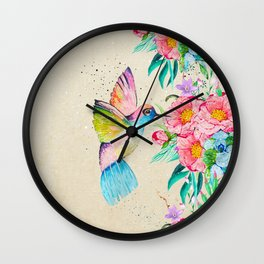 Whimsical watercolor hummingbird and  floral hand paint Wall Clock