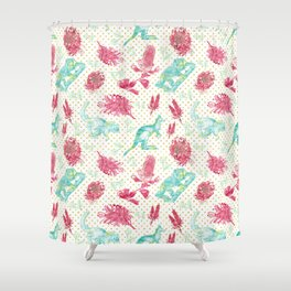 Beautiful Australian Animals and Flowers on Gold Polka Dots Shower Curtain