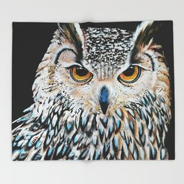 Owl portrait, acrylic on canvas Throw Blanket