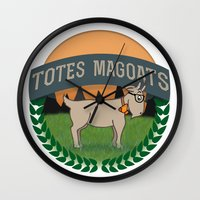 totes Wall Clocks featuring Totes Magoats by LaurenPyles