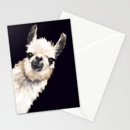 Sneaky Llama in Black Stationery Cards