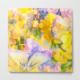 The Iris and Yellow Pansy Flowers Metal Print