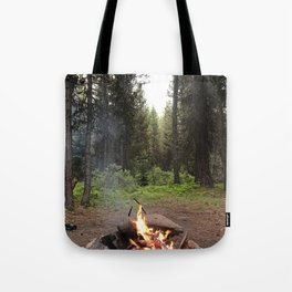 Backpacking Camp Fire Tote Bag