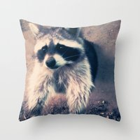 racoon Throw Pillows featuring racoon by oslacrimale