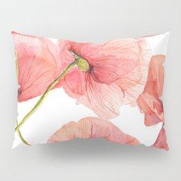 Red Poppies Bright Sunlight, Big Beautiful Red Flowers Pillow Sham