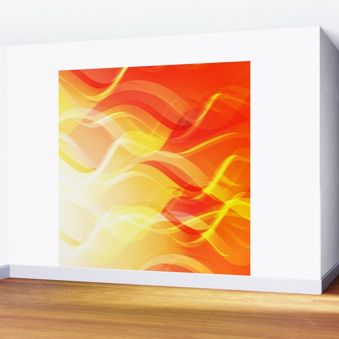 Theme of fire for the banner. Bright red and orange glare on a gentle background for a fabric or pos Wall Mural
