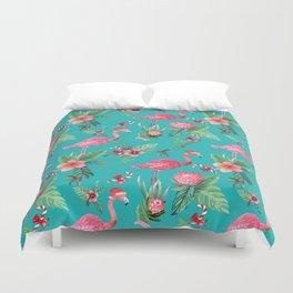 Santa Flamingo Christmas, Holiday Tropical Watercolor Duvet Cover