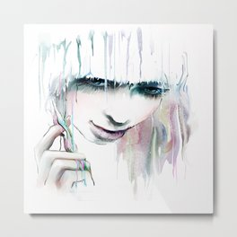 Watercolor Beautiful Girl Metal Print