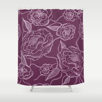 floral pattern Shower Curtains featuring Floral Pattern by Vickn