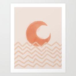 Mid Century Modern moon print ocean wave landscape Terracotta Minimal Boho Art Print