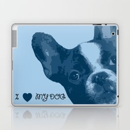 I love my dog - French Bulldog, blue Laptop & iPad Skin