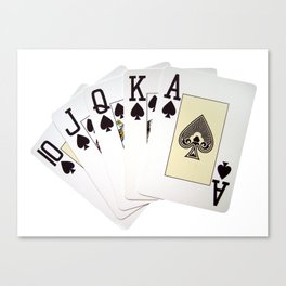 casino card game poker royal flush spades Canvas Print