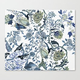 Blue vintage chinoiserie flora Canvas Print