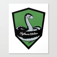 slytherin Canvas Prints featuring Slytherin Bitches! by Emma Ehrling