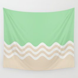 Pastel Green, Beige & Linen White Wavy Stripes 2 Pairs to 2020 Color of the Year Neo Mint Wall Tapestry