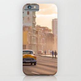 Classic cars and school bus on the Malecon in Havana | Travel photography Cuba iPhone Case
