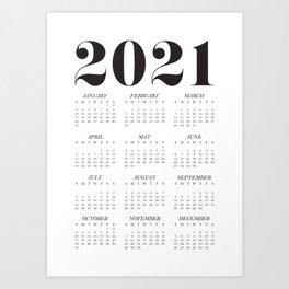 Classic 2021 Calendar Poster - White Monochrome Art Print