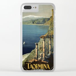 Vintage Taormina Sicily Italian travel ad Clear iPhone Case