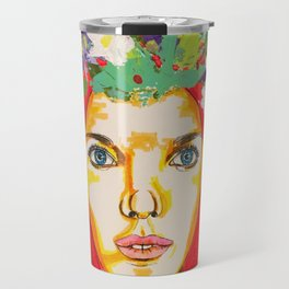 Red haired girl with flowers in her hair Travel Mug