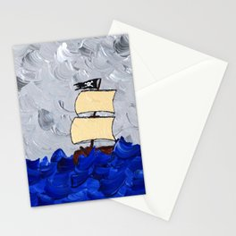 Pirate Ship On Stormy Seas in Acrylic Stationery Cards