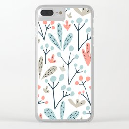 Coral Duck Egg Blue Greige Floral Leaves Clear iPhone Case