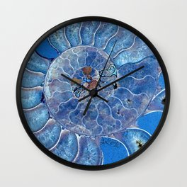 Blue seashell -mother-of-pearl - Beautiful backdrop Wall Clock