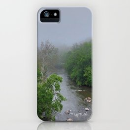 On A Cloudy Day At The River iPhone Case