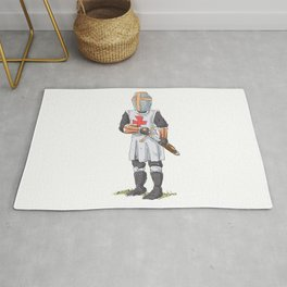 Knight Templar in armour with sword. Rug