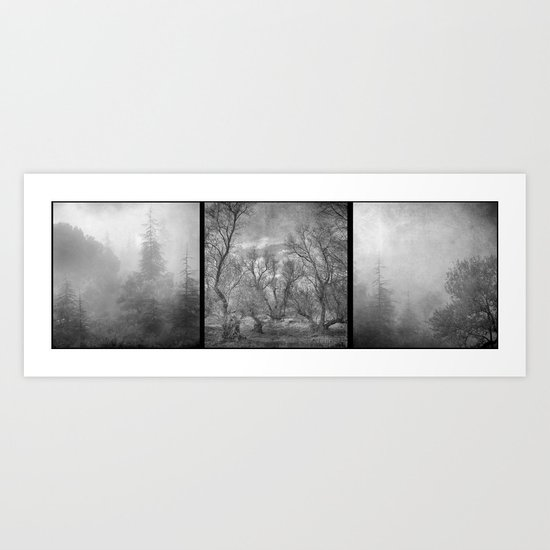 """Misty trees tryptic"" Art Print"