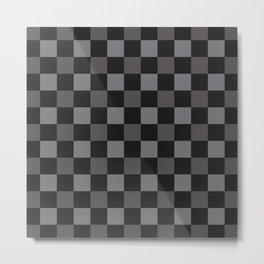 Black & Grey Checkered Plaid Squares Metal Print