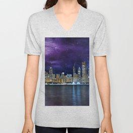 Spacey Chicago Skyline Unisex V-Neck