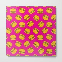 Pink Burger Pattern Metal Print