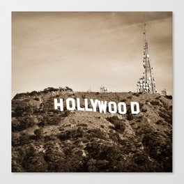 Hollywood California Sign in Sepia - Square Format Canvas Print