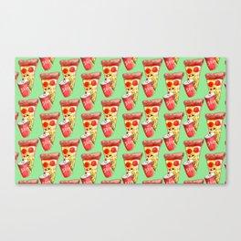 pizza drinking soda Canvas Print