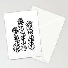 Flower Party in Black Stationery Cards