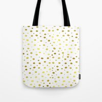 gold dots Tote Bags featuring Gold Dots by Laura Maria Designs