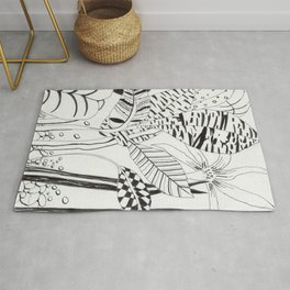 Patterned leaves revisited -line drawing plants Rug