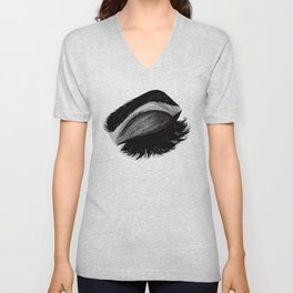 Grunge Eyelashes Unisex V-Neck