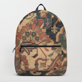 Geometric Leaves I // 18th Century Distressed Red Blue Green Colorful Ornate Accent Rug Pattern Backpack
