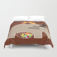 thanksgiving Duvet Covers featuring Happy Thanksgiving Elephant by Elephant Love