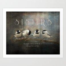 Sisters - Chickadees - Birds Art Print