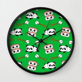 Cute funny Kawaii chibi little playful baby panda bears, happy cheerful sushi with shrimp on top, rice balls and chopsticks vibrant green pattern design. Nursery decor. Wall Clock