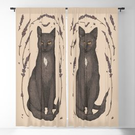 The Cat and Lavender Blackout Curtain