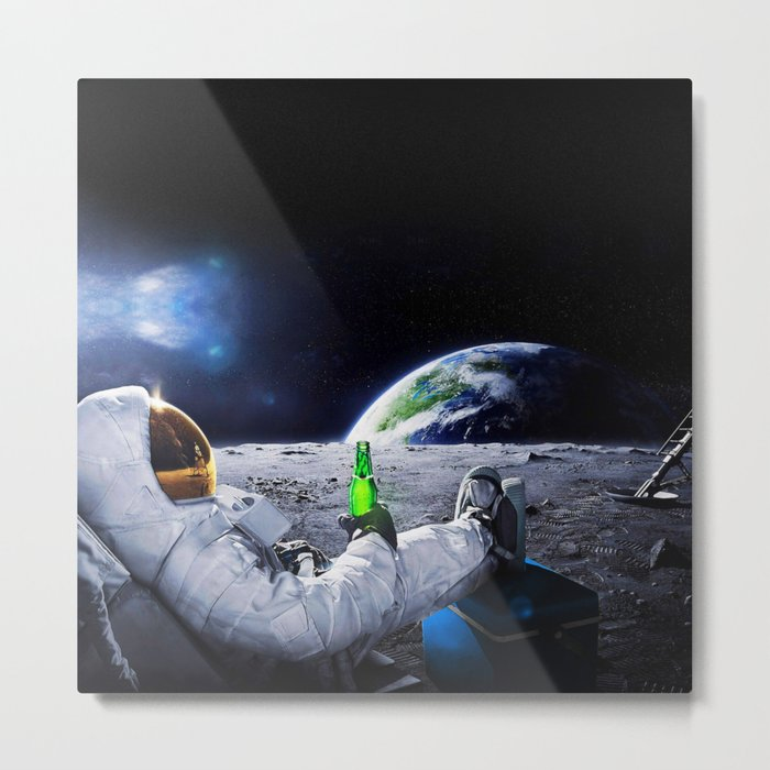 Funny Astronaut with space beer Metal Print