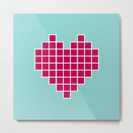 Pixelated Heart Metal Print