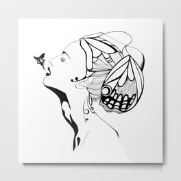 Lady Butterfly Metal Print