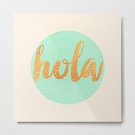 Hola - Mint & Gold Metal Print