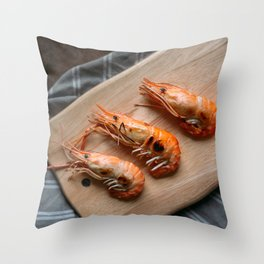 Grilled shrimps on wooden board Throw Pillow