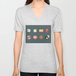 Roulette, Slots, Chips, Dice & Cards - Nevada Day Unisex V-Neck